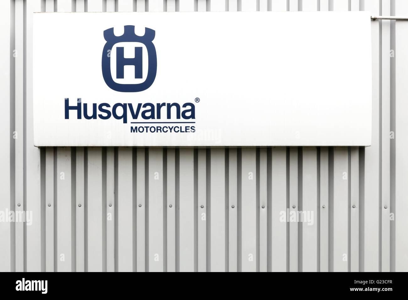 Husqvarna  motorcycles logo on a facade - Stock Image