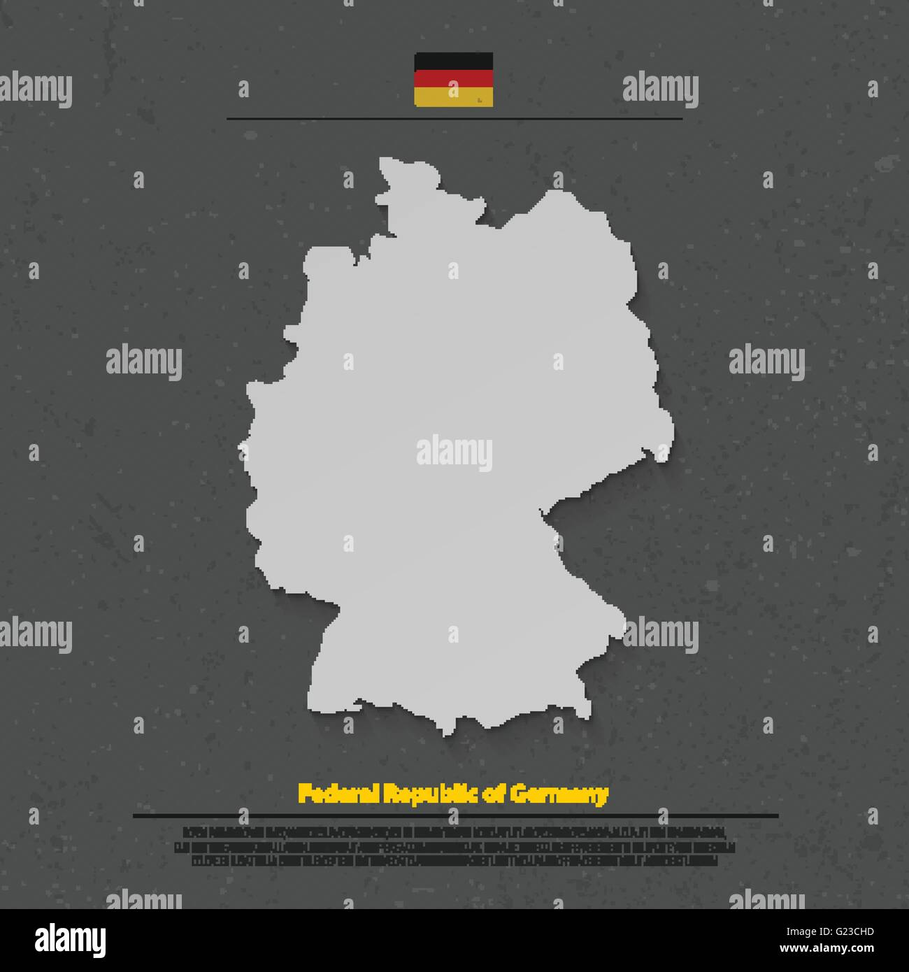 Federal Republic Of Germany Map And Official Flag Icon Over Dark  Background. Vector German Political Map 3d Illustration. Europe