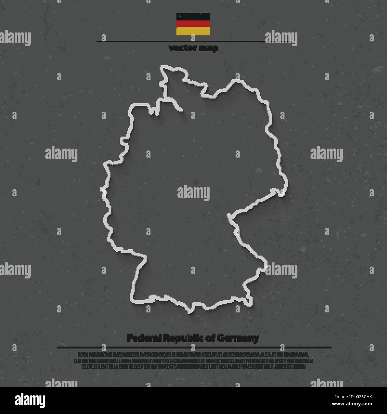 Federal Republic of Germany map outline and official flag icon over grunge background. vector German political map - Stock Vector
