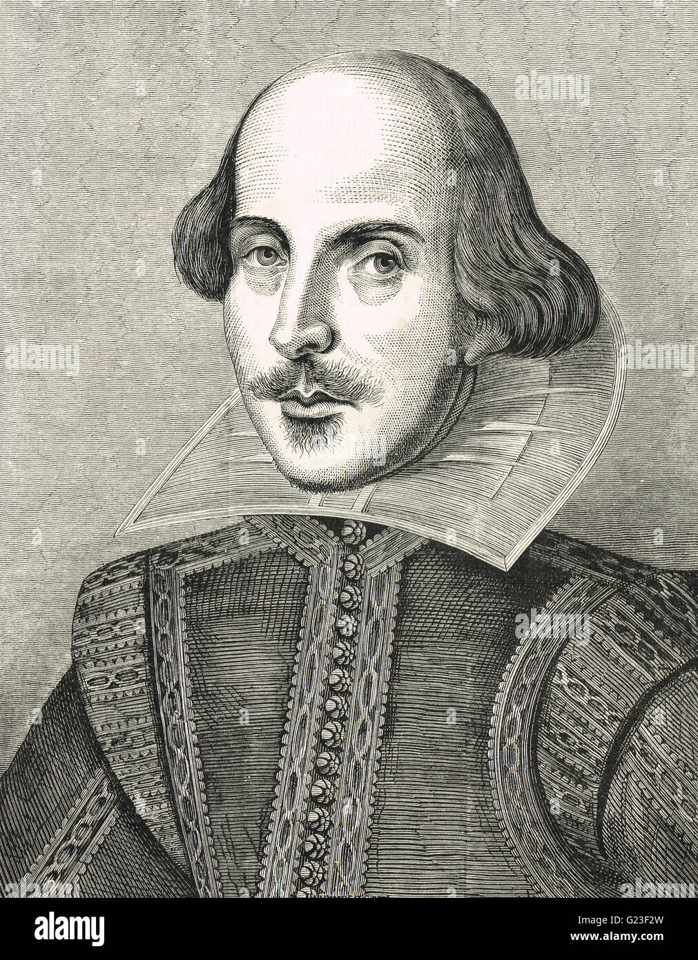 William Shakespeare, The Bard of Avon, 1564-1616.   Engraved Illustration after the portrait by Martin Droeshout Stock Photo