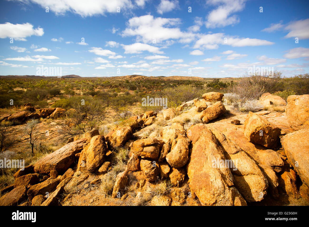 A view towards the West Macdonnell Ranges from near the Old Telegraph Station in Alice Springs, Northern Territory, - Stock Image