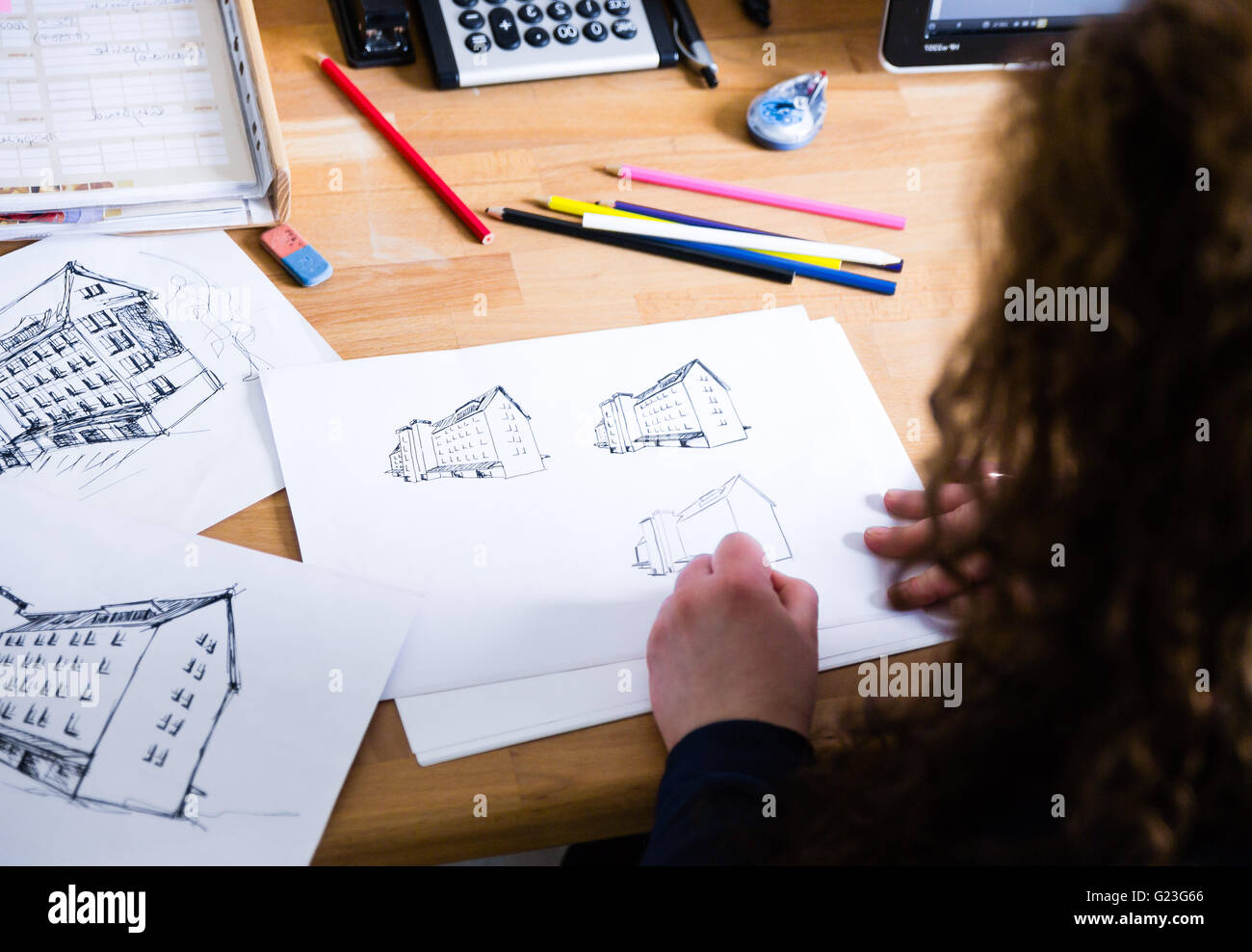 Graphic designer drawing - Stock Image