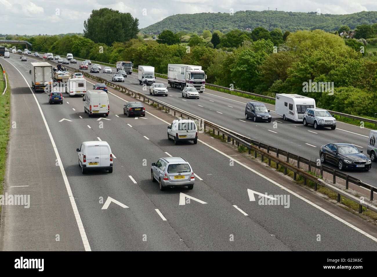 Traffic on the M56 motorway in Cheshire UK - Stock Image