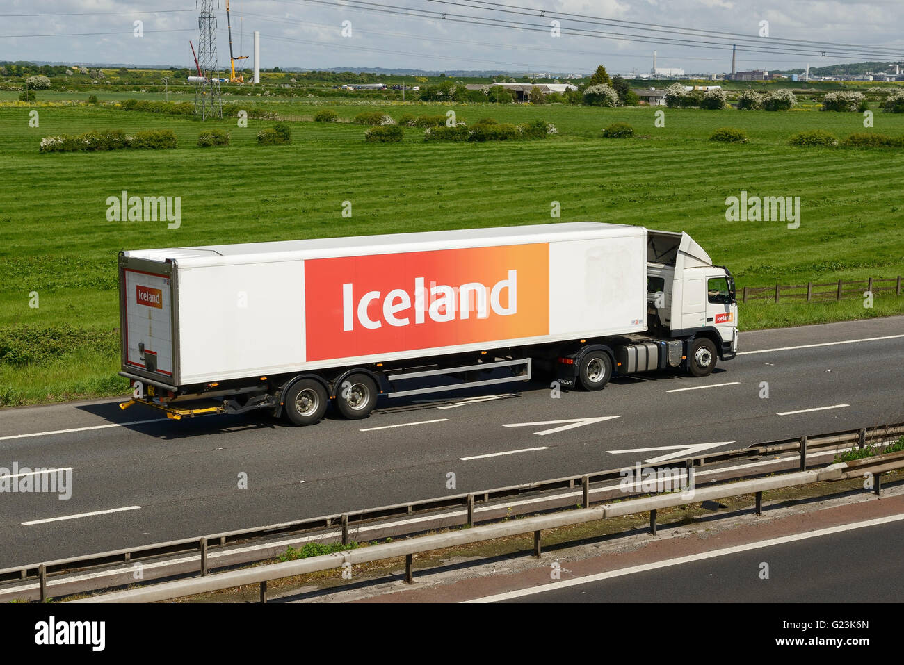 Iceland HGV travelling on the M56 motorway in Cheshire UK - Stock Image