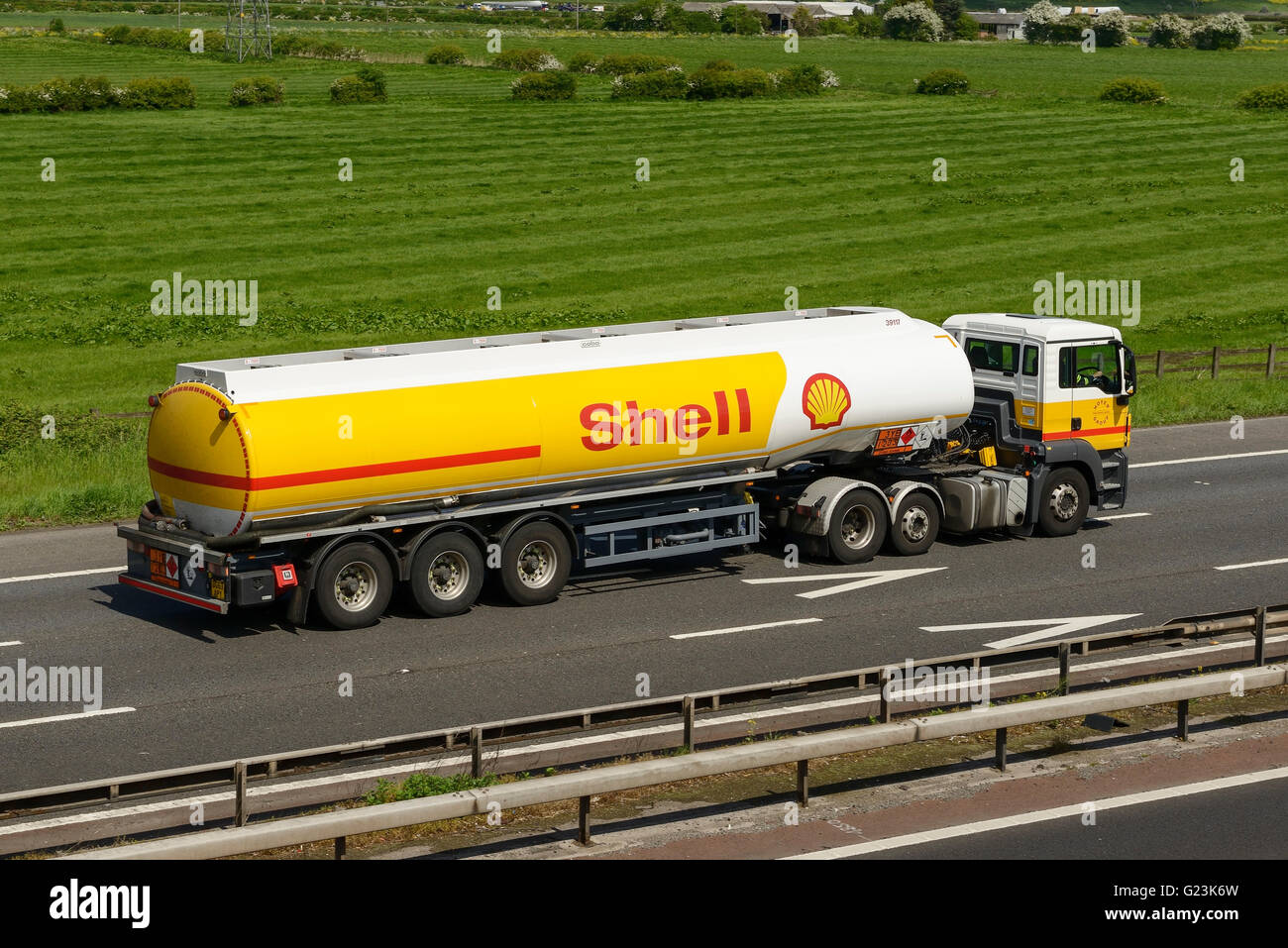 Shell fuel tanker HGV travelling on the M56 motorway in Cheshire UK - Stock Image