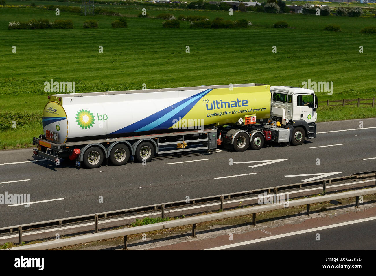 BP fuel tanker HGV travelling on the M56 motorway in Cheshire UK - Stock Image