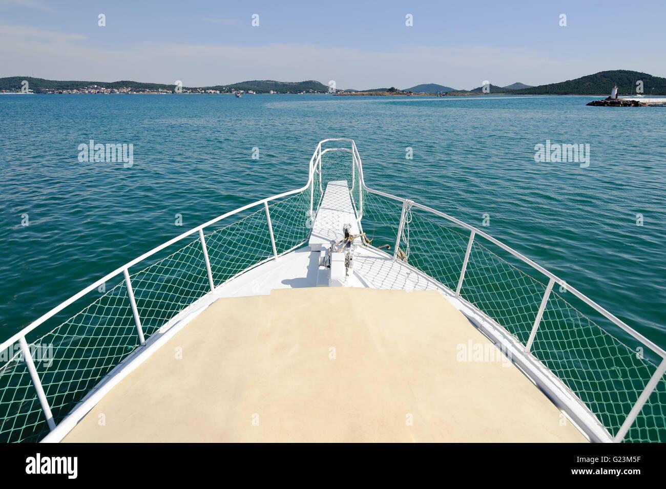 Yatch at blue tour on the sea in Alibey Cunda island Ayvalik Balikesir Turkey. - Stock Image
