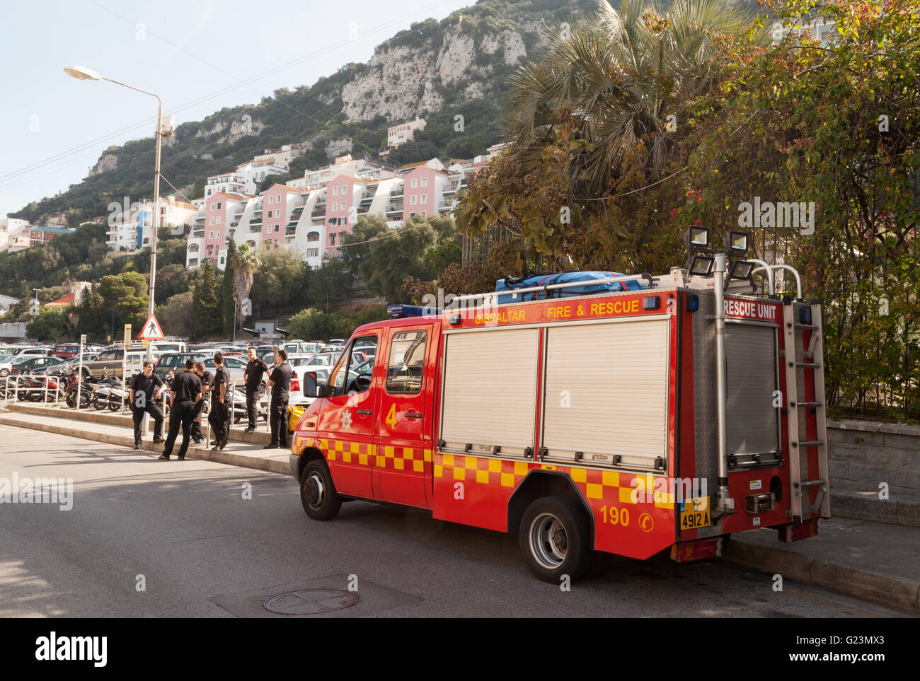 Gibraltar Fire engine and staff of the Gibraltar Fire Service, Gibraltar, Europe - Stock Image