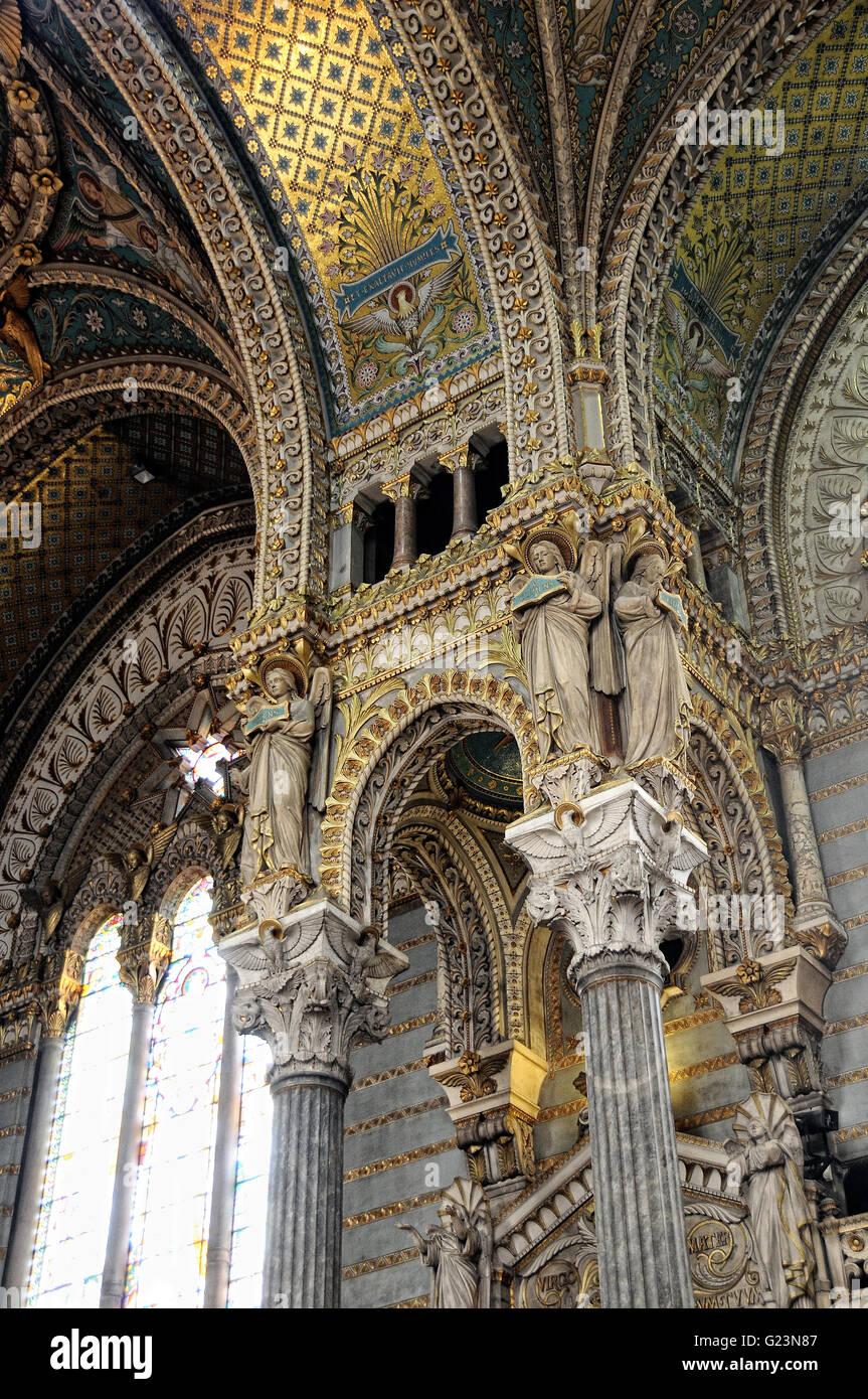 detail vault and columns inside Basilica of Notre Dame de Fourvière - Stock Image