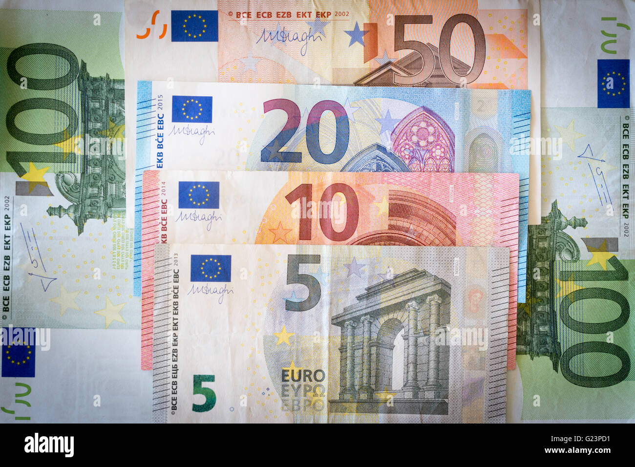 A selection of Euro banknotes - Stock Image