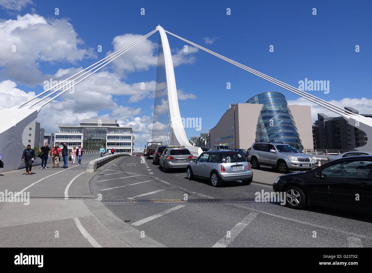 Interesting view on Samuel Beckett Bridge over the river Liffey, Dublin , Ireland Stock Photo