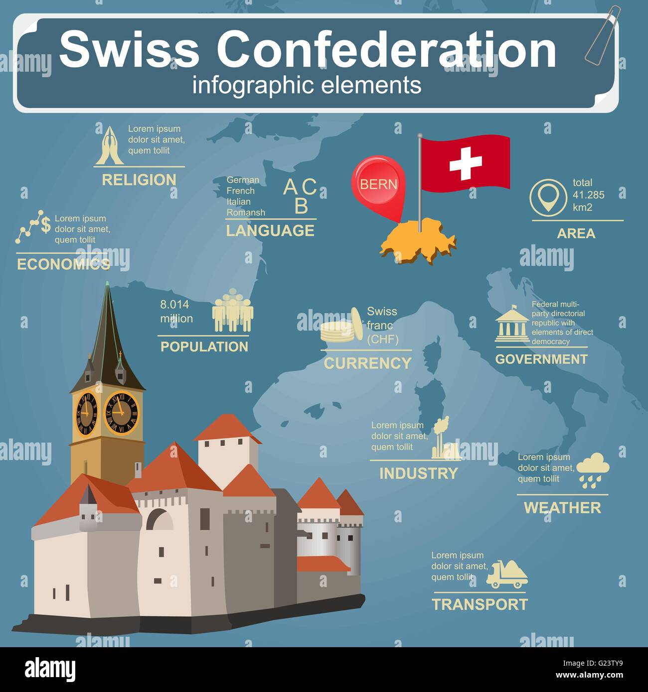 Switzerland infographics, statistical data, sights. Vector illustration - Stock Vector