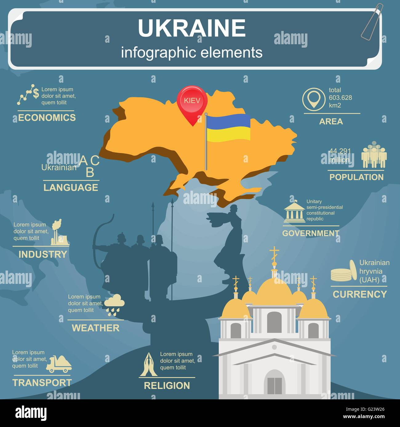 Ukraine Infographics, Statistical Data, Sights. Vector