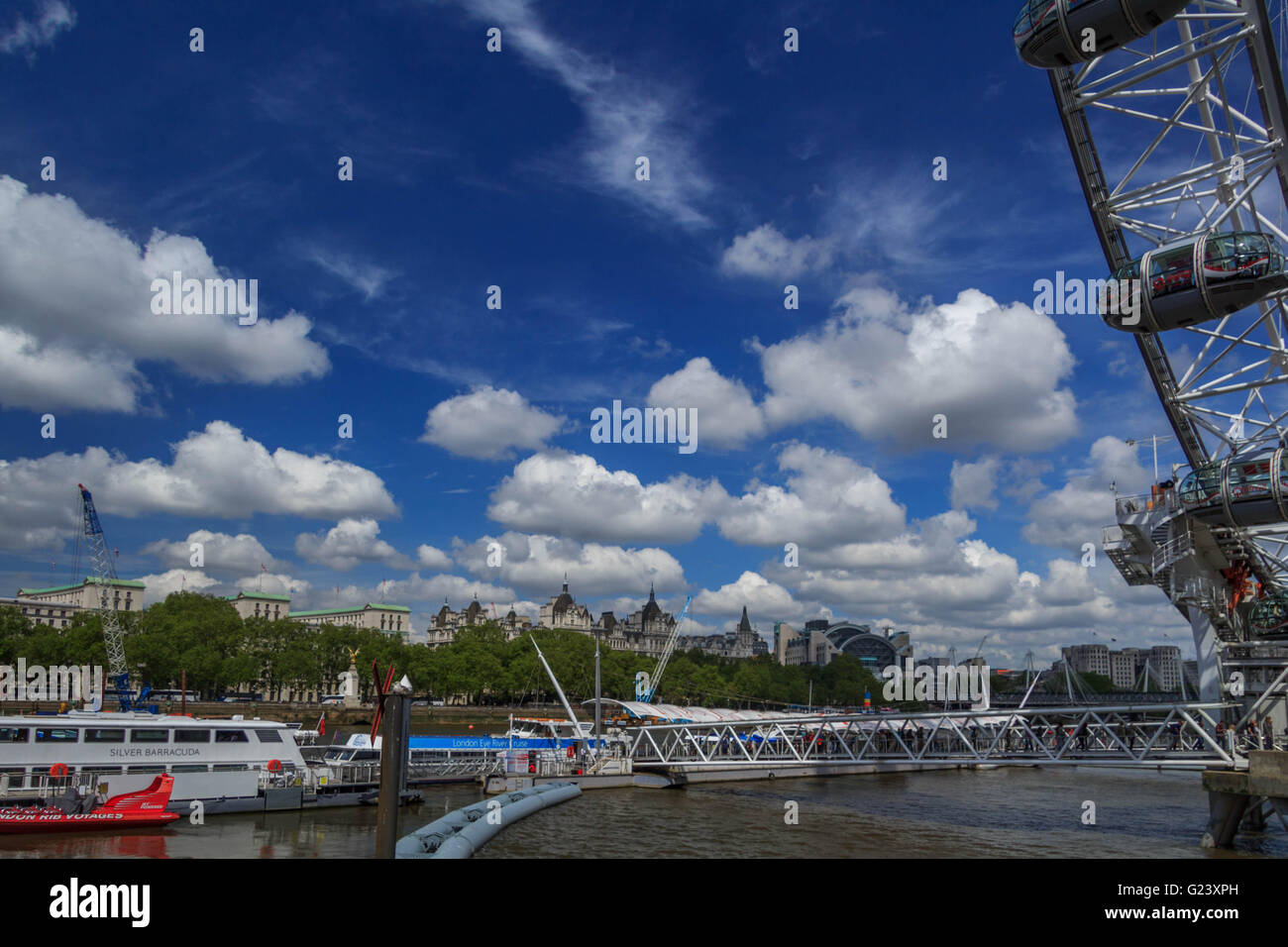 View looking at the north Bank of the River Thames from the Queen Walk near the London eye Stock Photo
