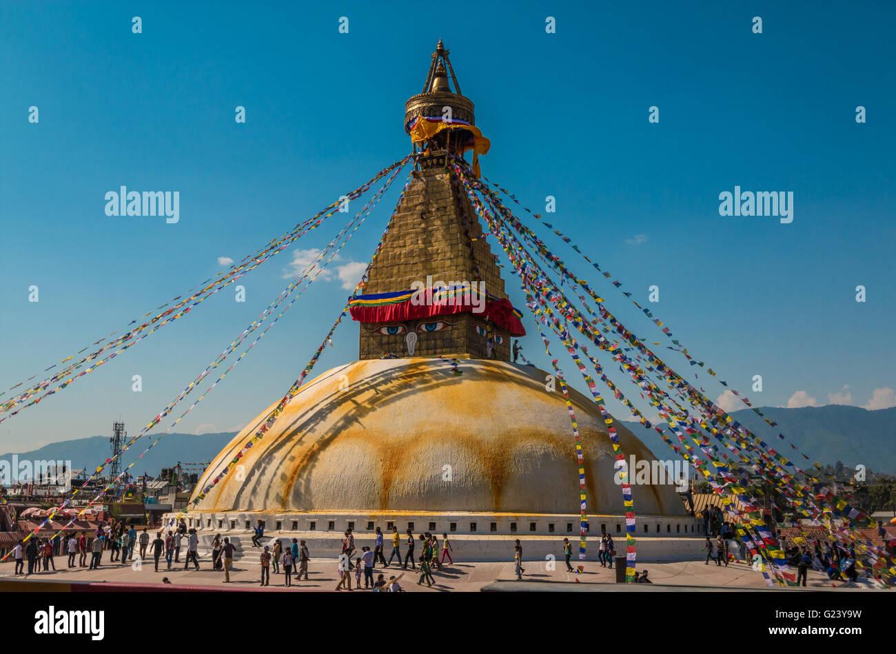 Boudhanath stupa in Kathmandu Nepal Stock Photo