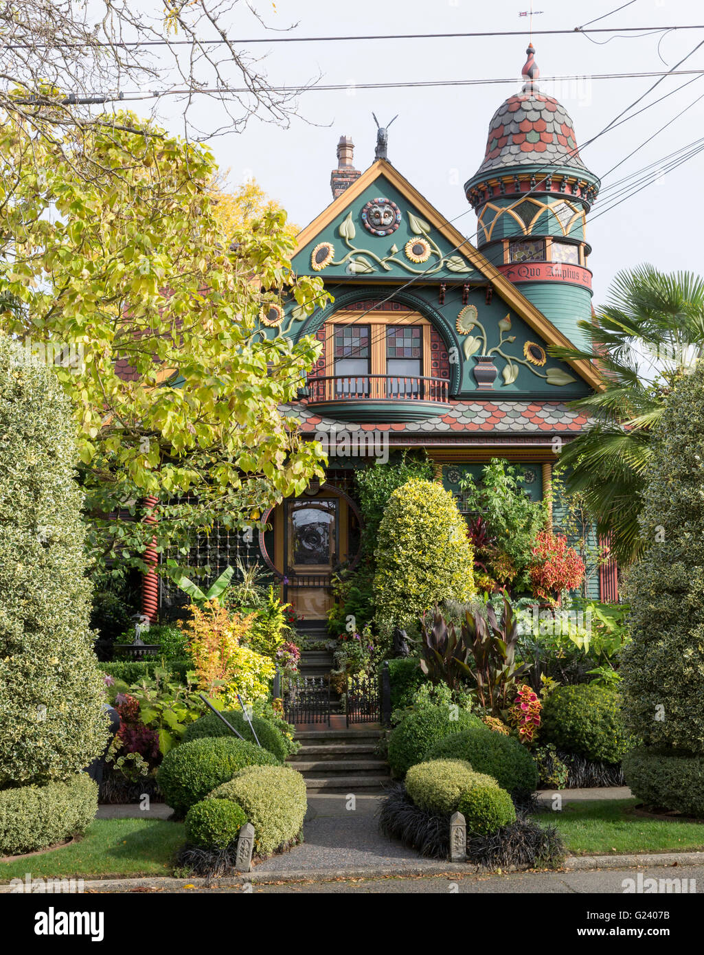 Brian Coleman House in the Queen Anne neighborhood- a Victorian home at 2018 Nob Hill Avenue North in Seattle, Washington - Stock Image