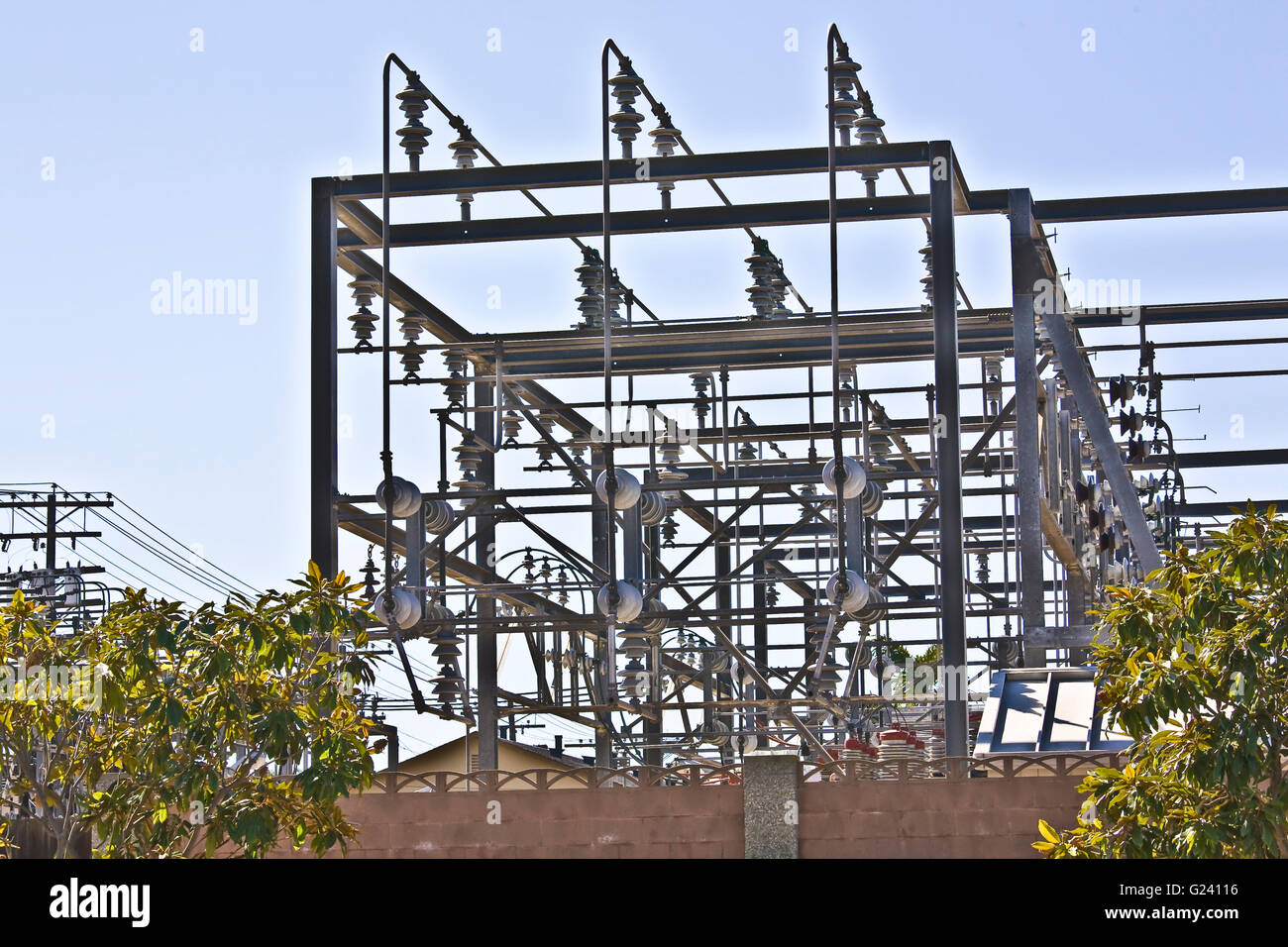 Electrical power high voltage distribution station - Stock Image