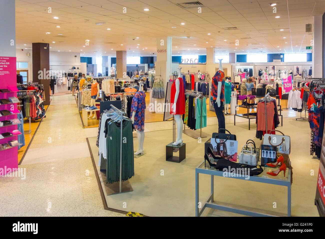 b755d6ccd0c Department store womens fashion clothing department Spring 2016 empty shop  no customers - Stock Image