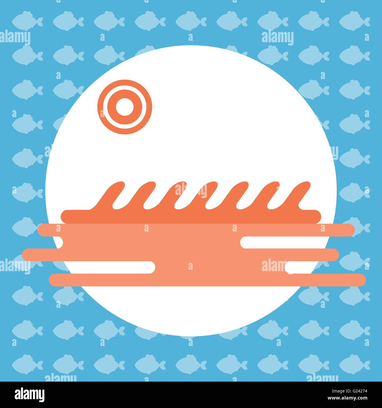 Abstract illustration with ocean water and a sun in a round frame, over an blue background with fish. Digital vector - Stock Vector