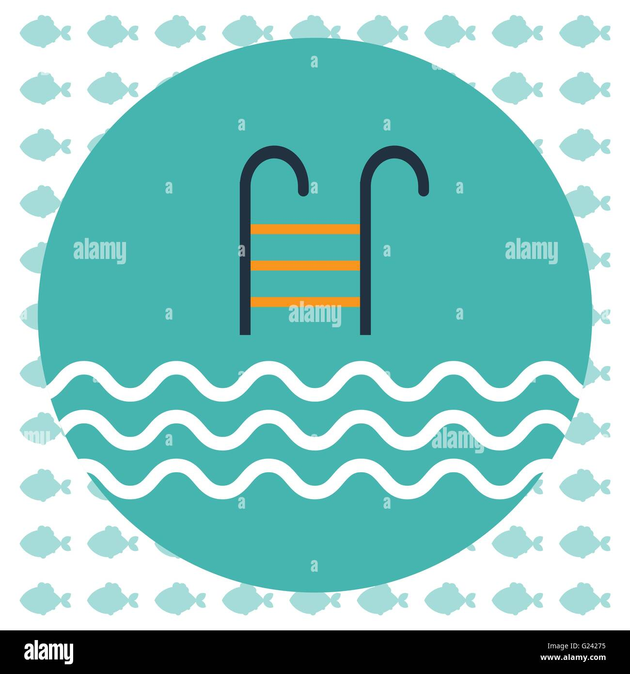 Abstract illustration with a pool ladder and water with waves in a round green frame, over an white background with - Stock Vector