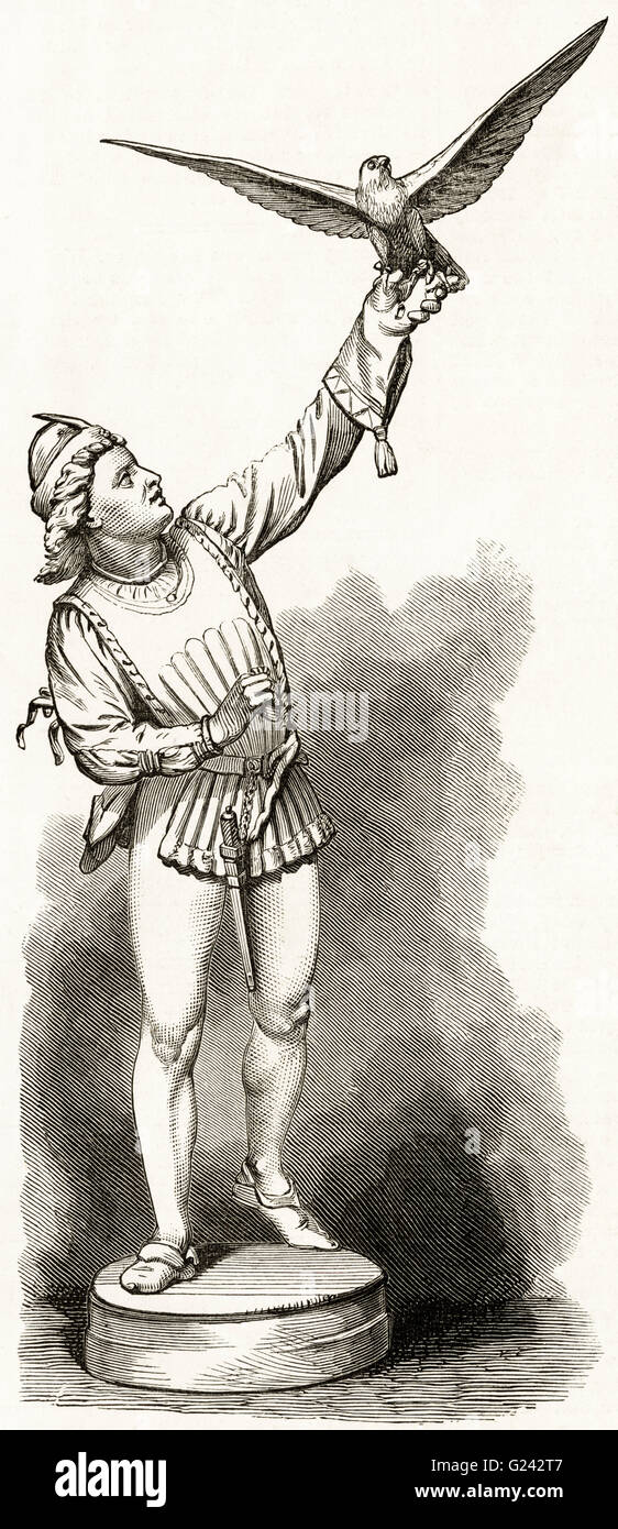 THE FALCONER by the aritst G. Simonds. Victorian woodcut engraving dated 1875 - Stock Image