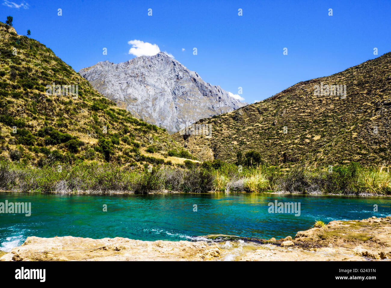 Waterscape in the Peruvian Andes. Photographed near Huancayo, Peru - Stock Image