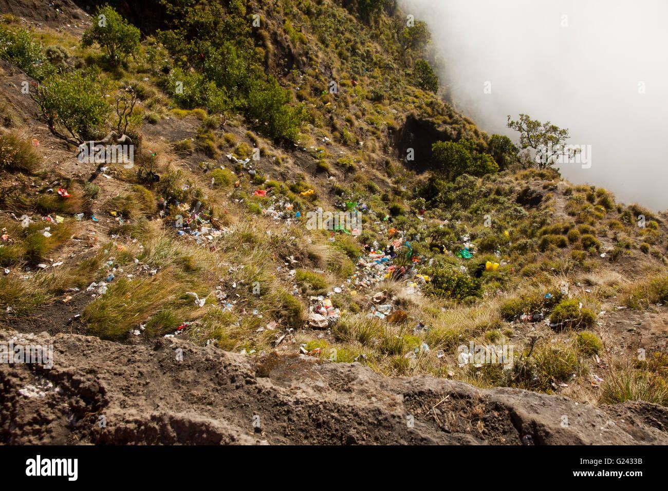 Rinjani Trash Problem, Lombok, Indonesia - Stock Image