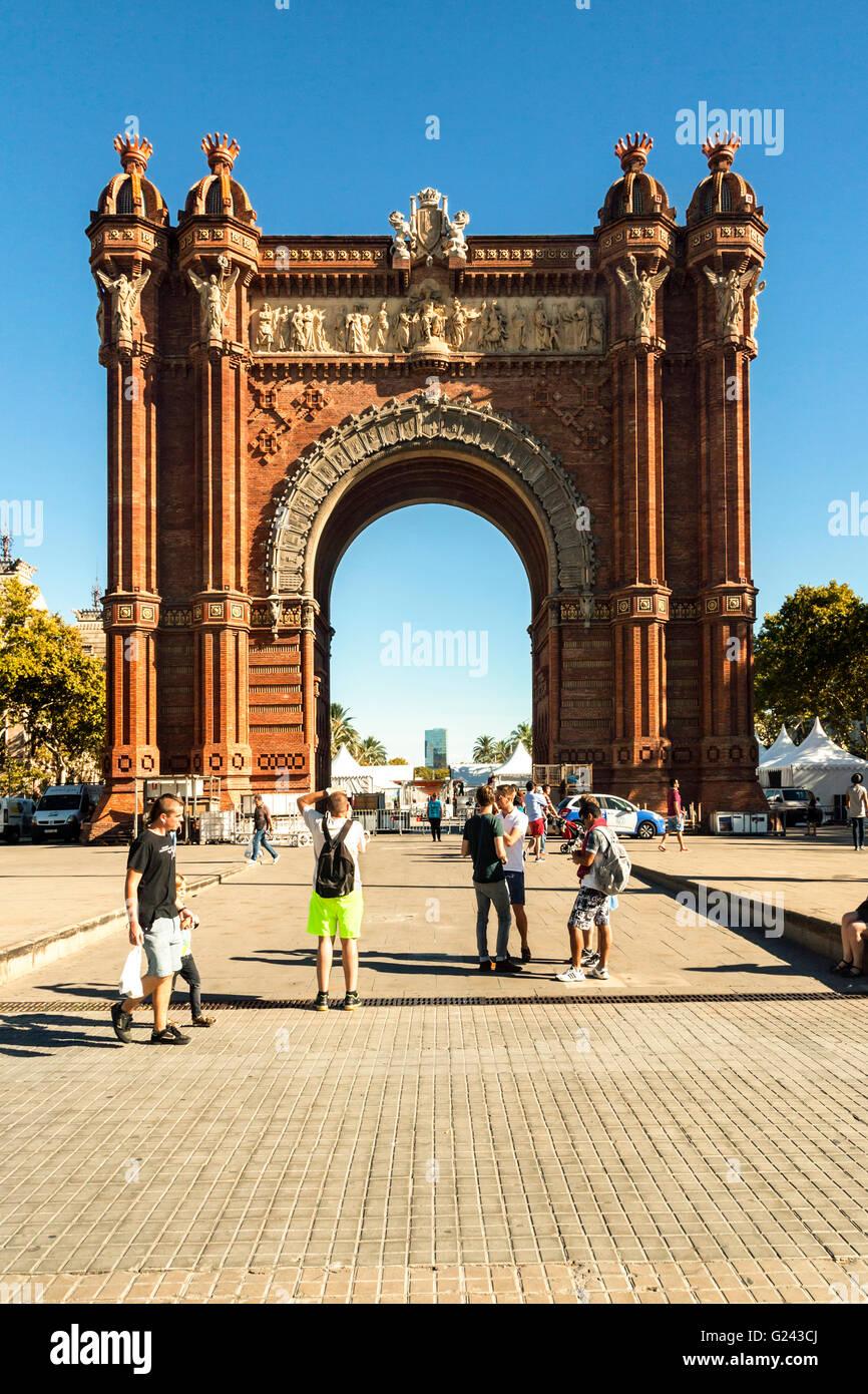 Arc de Triomf by Josep Vilaseca i Casanovas, Parc de la Ciutadella, Barcelona, Catalonia, Spain - Stock Image