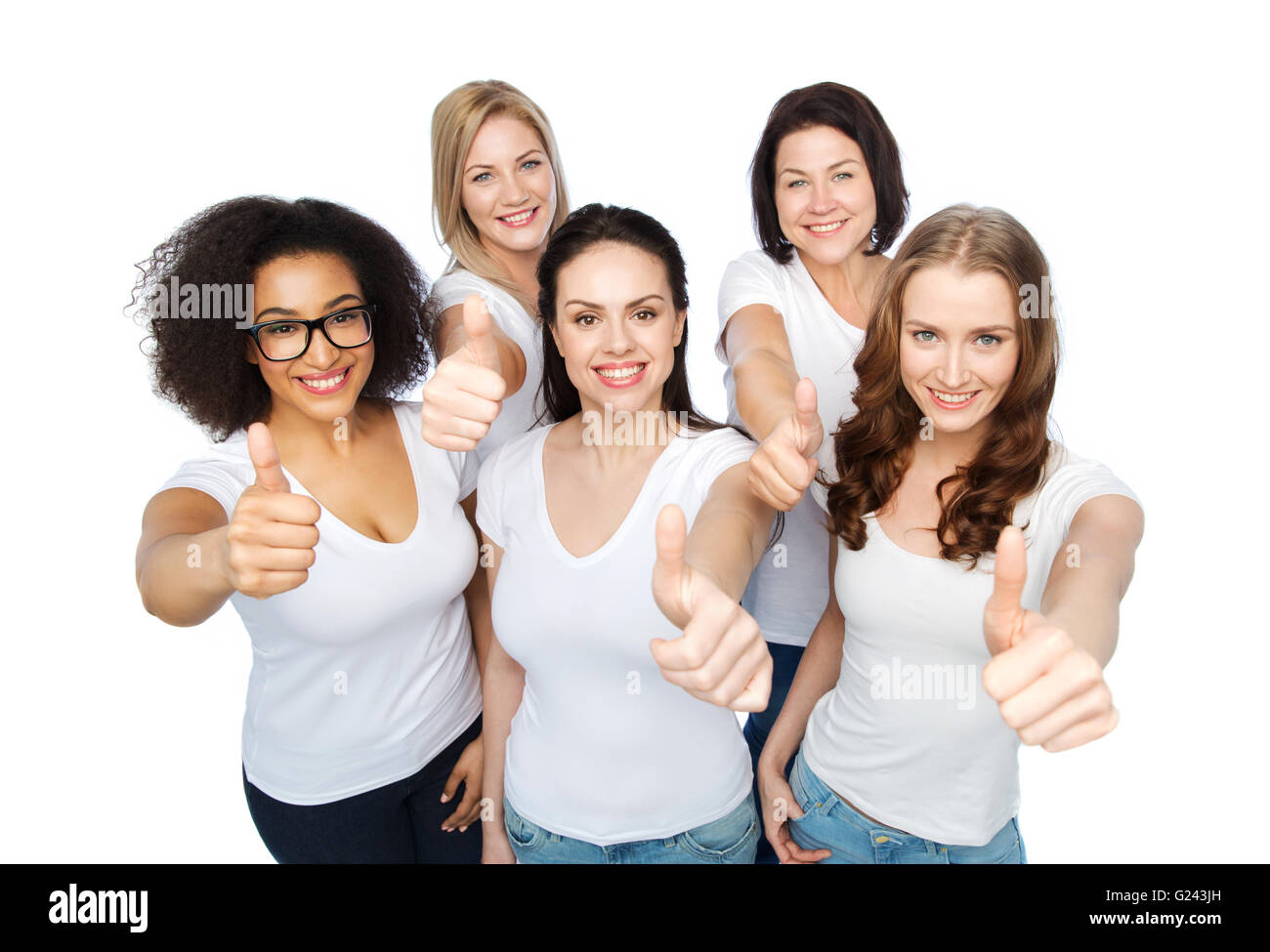 group of happy different women showing thumbs up Stock ...
