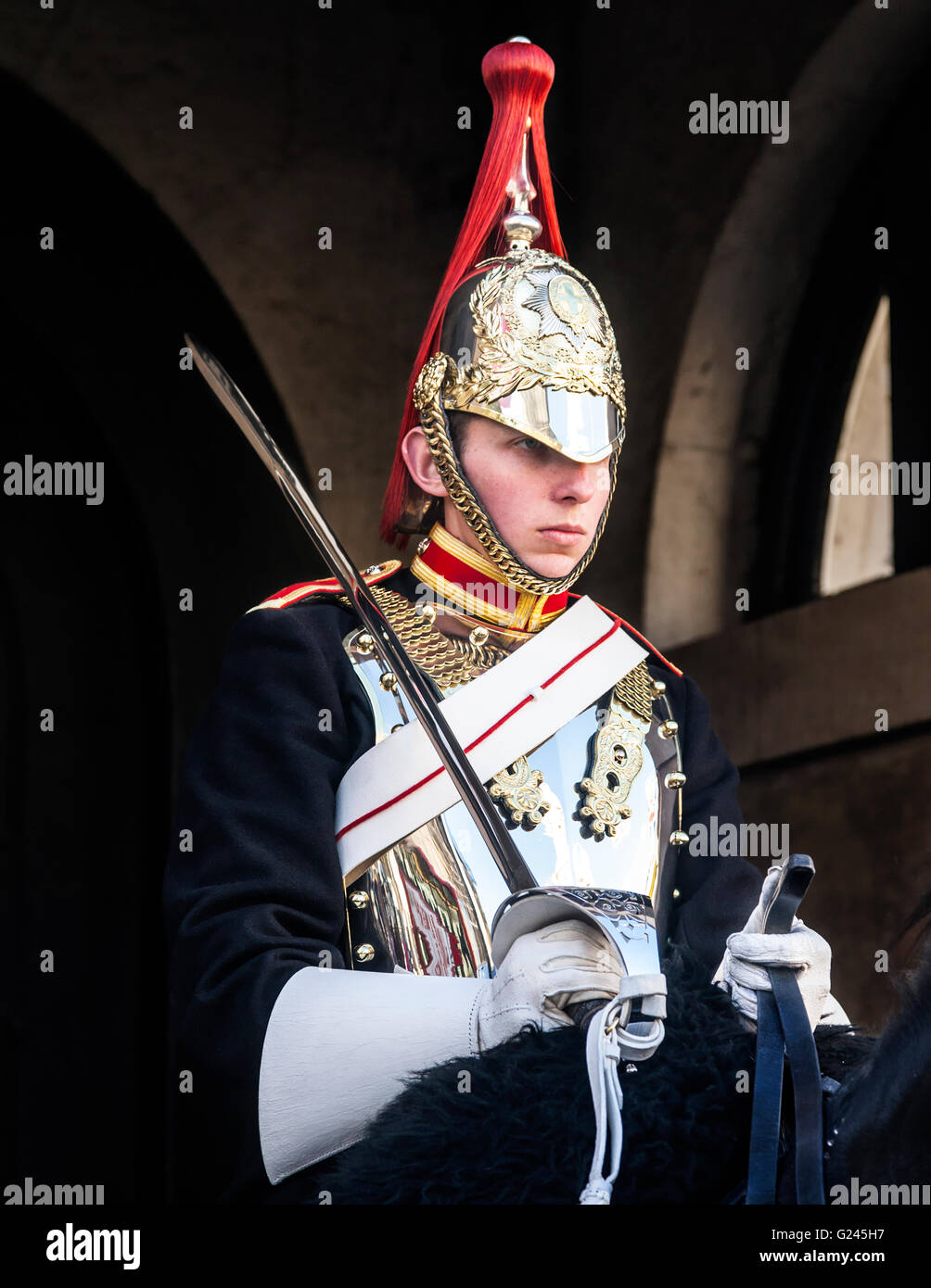 Mounted Blues and Royals Household Cavalry Trooper, Horseguards Parade, London, England. - Stock Image