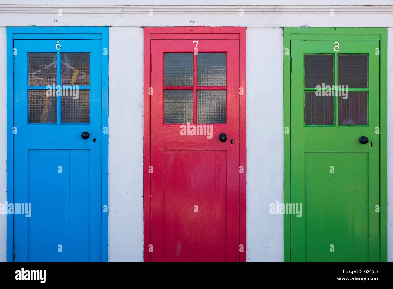 Coloured doors North Berwick Harbour Scotland. - Stock Image & Coloured Doors Stock Photos \u0026 Coloured Doors Stock Images - Alamy