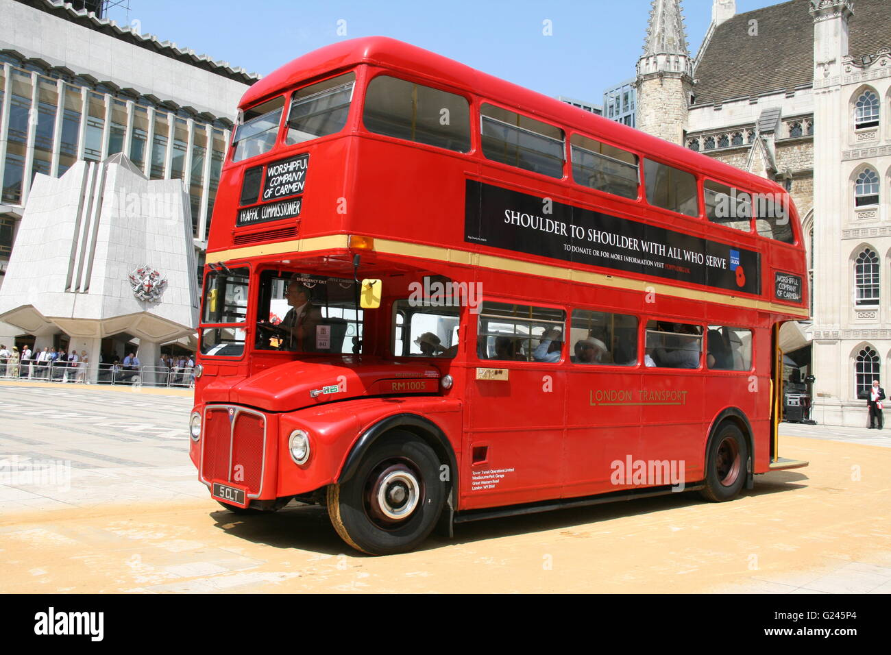 A RED LONDON AEC ROUTEMASTER RED DOUBLE DECK BUS AT THE CARTMARKING CEREMONY IN LONDON - Stock Image