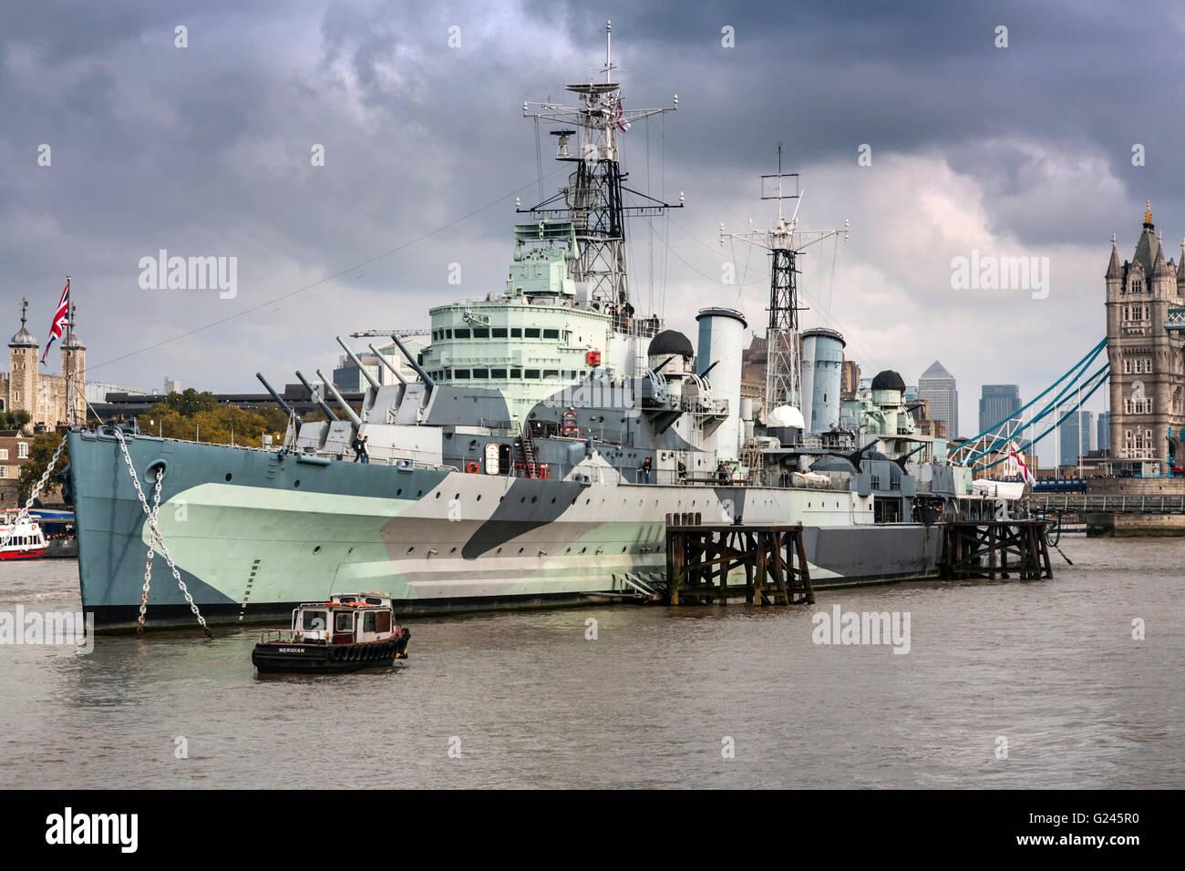 HMS Belfast Museum Warship, South Bank, Southwark, London, England. - Stock Image