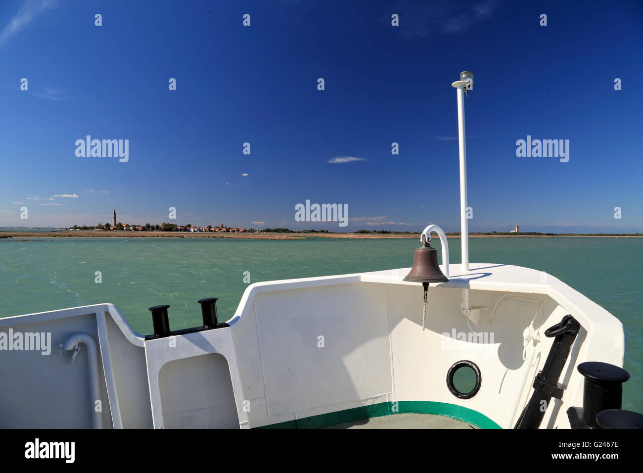 Vaporetto boat tour into the Venetian Lagoon, view to Isola di Burano Island - Stock Image