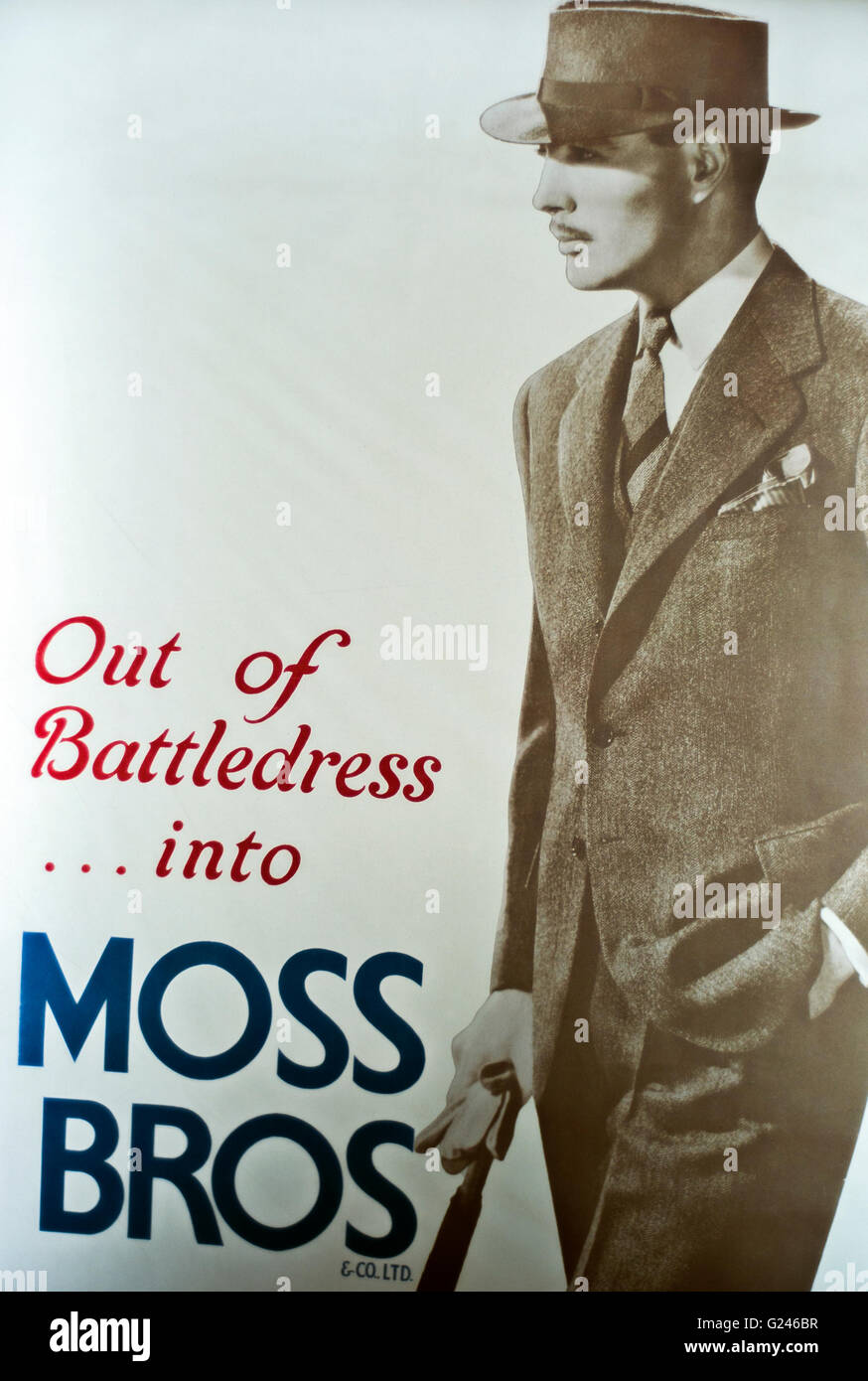Poster Moss Bros, clothing company, mens suits,hat and umbrella post war ,'Out of battledress into Moss Bros' - Stock Image