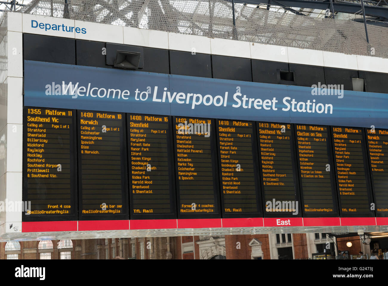 England London East End Liverpool Street Station departures timetable board Stock Photo