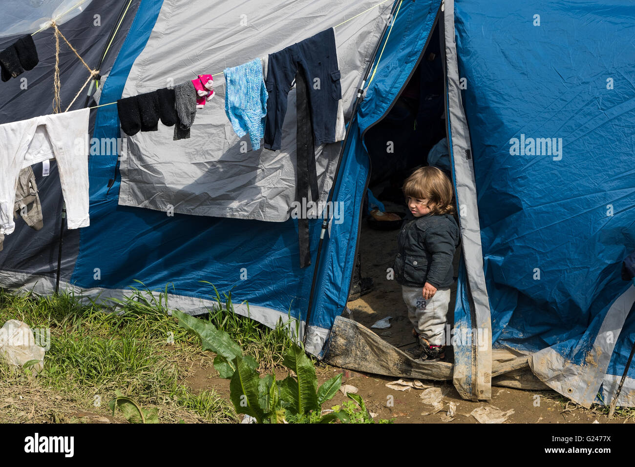 A little girl stands by her tent on March 17, 2015 in the refugee camp of Idomeni, Greece. - Stock Image