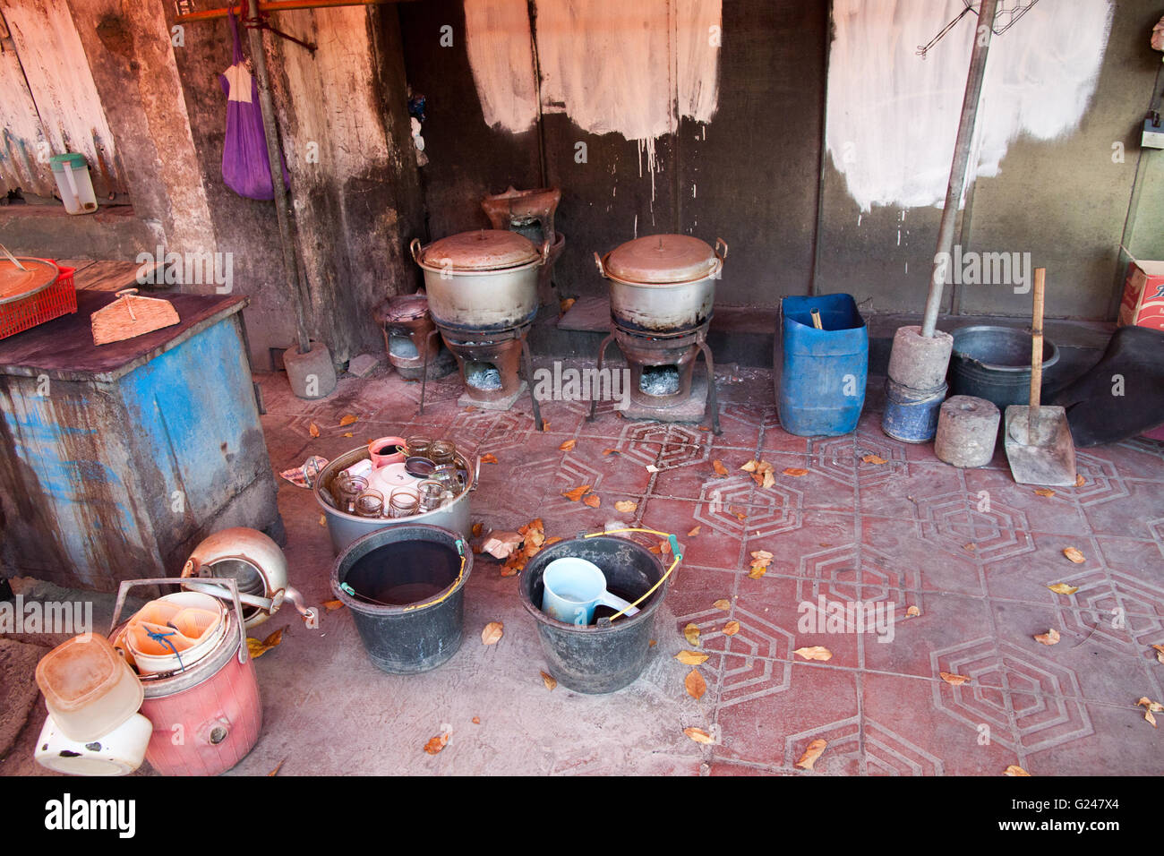 Typical Indonesian street kitchen equipment for cooking delicous food. - Stock Image
