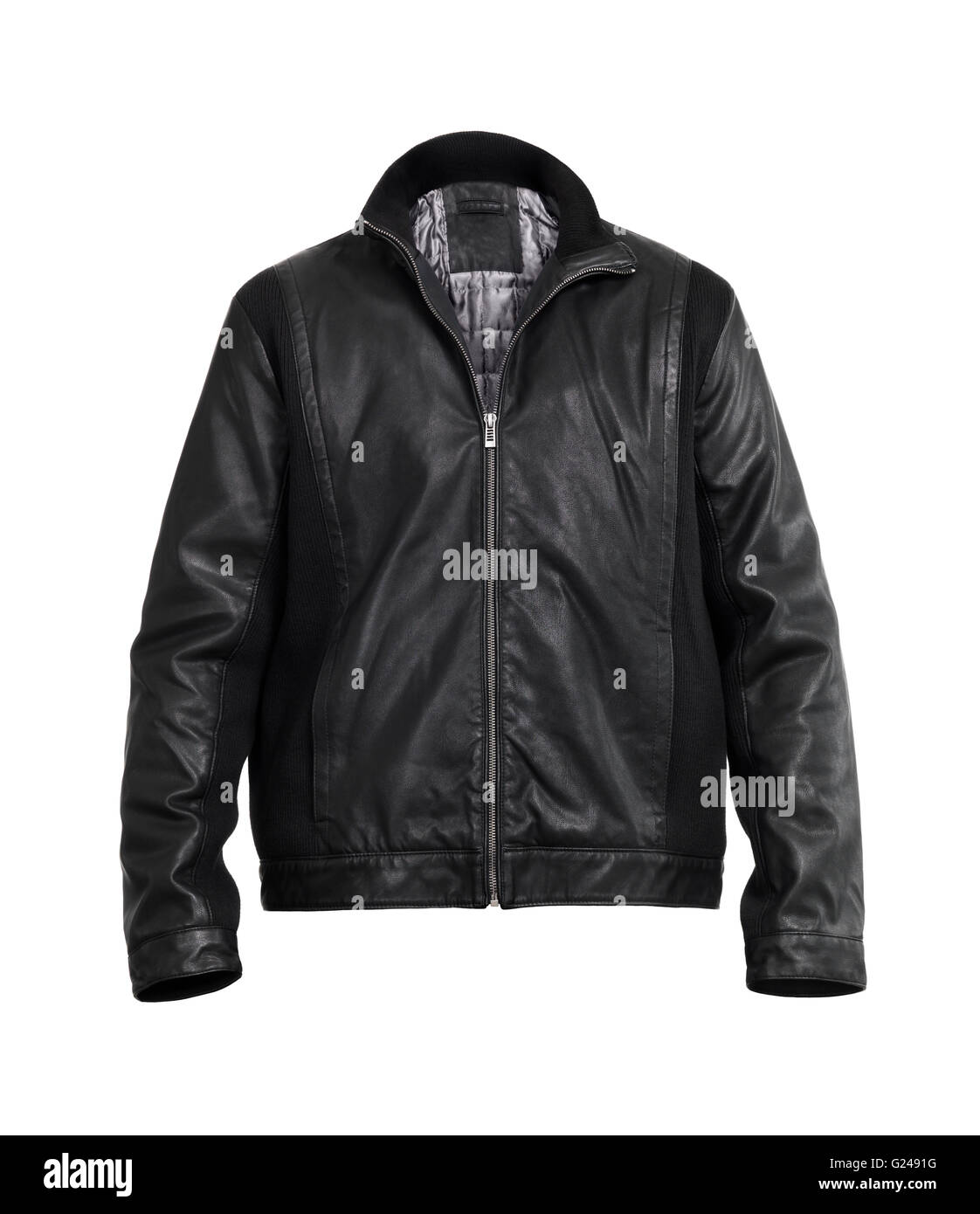 Black men's leather jacket - Stock Image