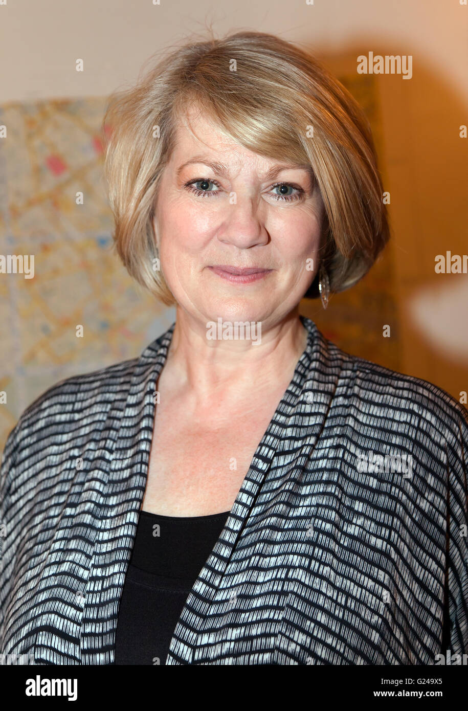 Tracey Childs, at Flat Planet, during an evening dedicated to her acting career hosted by the Misty Moon Film Society - Stock Image