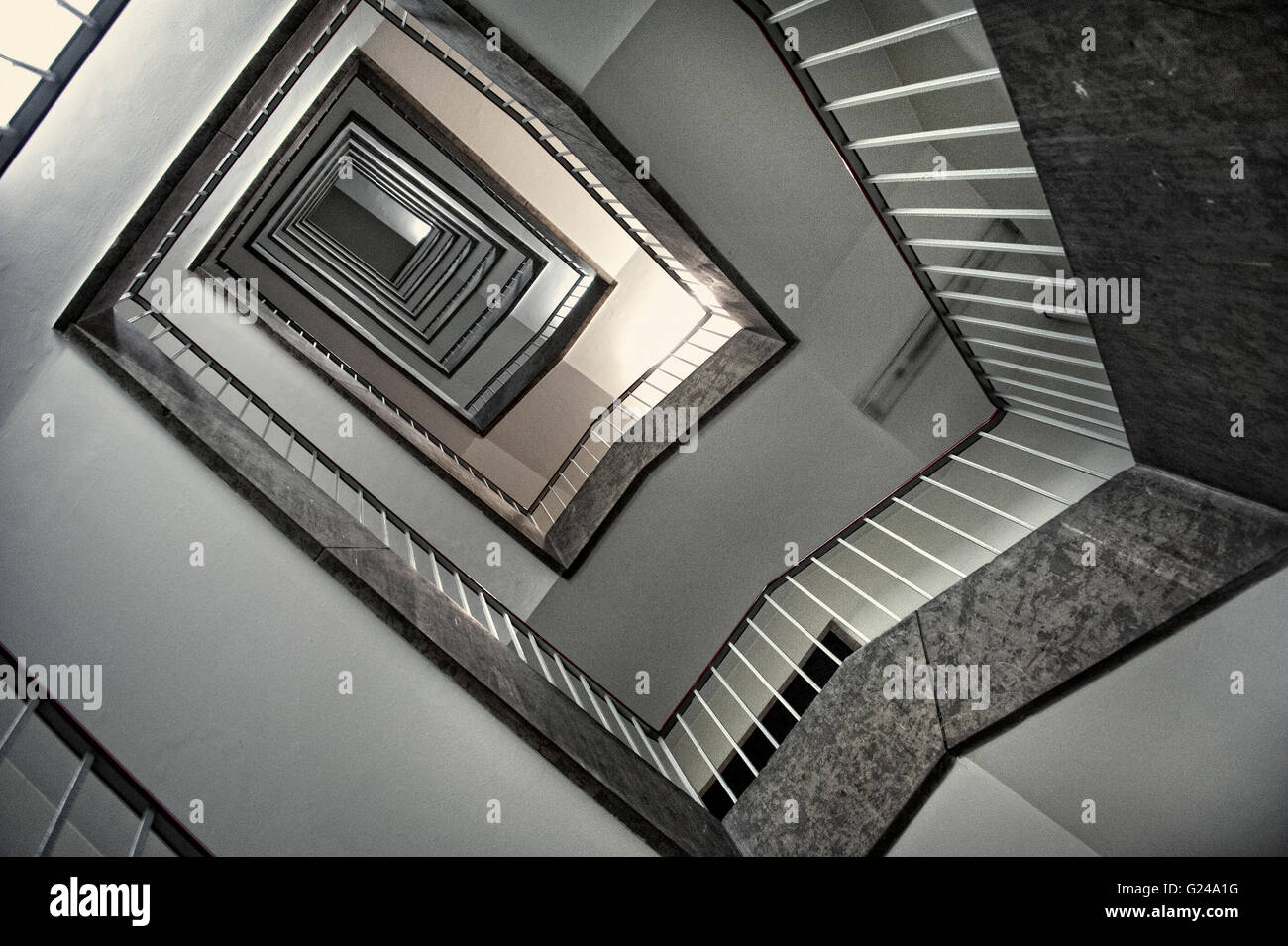 Stairwell, tour of hidden places at Tempelhof Airport, Berlin, Germany - Stock Image