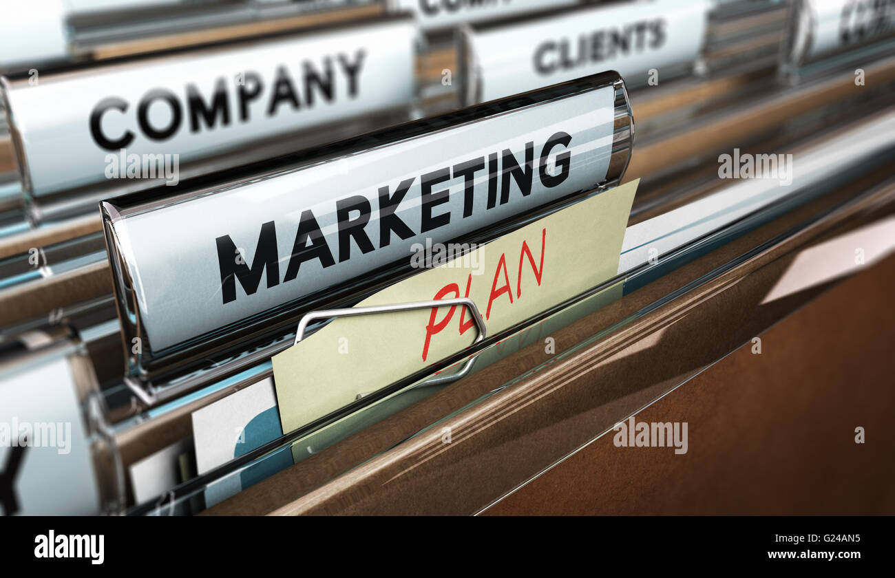 3D illustration of a file tab with focus on the text marketing plan. Concept of business strategic planning. - Stock Image