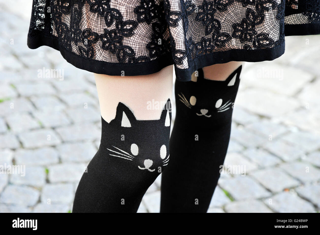 Cat tights on a guest, Paris fashion week - Stock Image