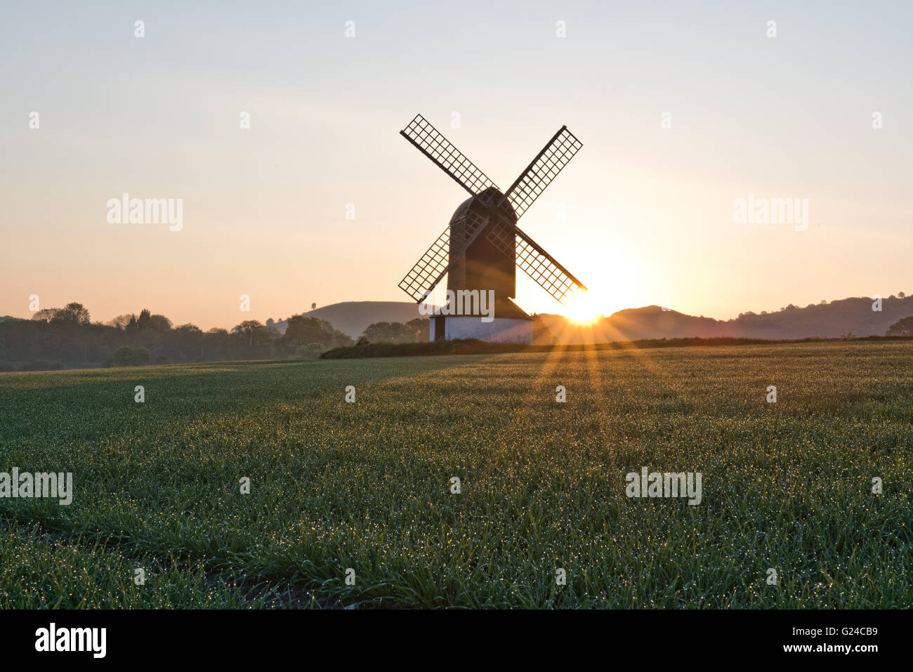 Sunrise at Pitstone Windmill with Ivinghoe Beacon in the distance, Pitstone, Buckinghamshire, UK - Stock Image