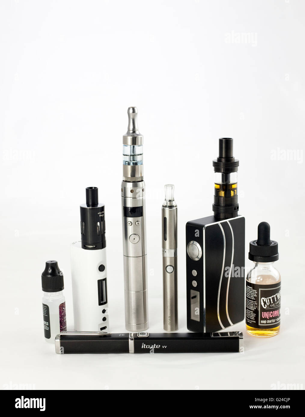 a range of different e cigarettes that are used for vaping liquid with or without nicotine - Stock Image