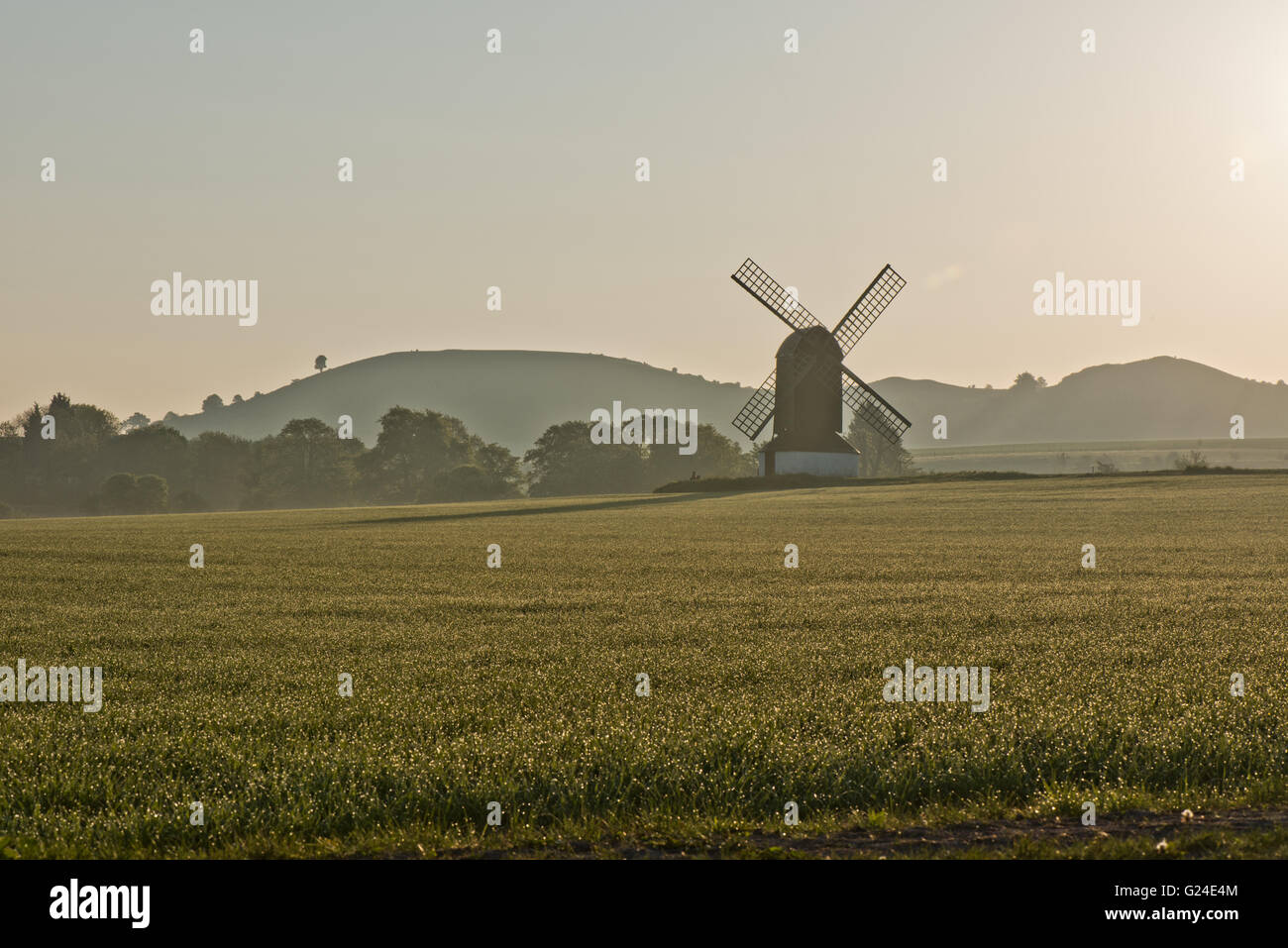 A misty morning at Pitstone Windmill with Ivinghoe Beacon in the distance, Pitstone Buckinghamshire, UK - Stock Image
