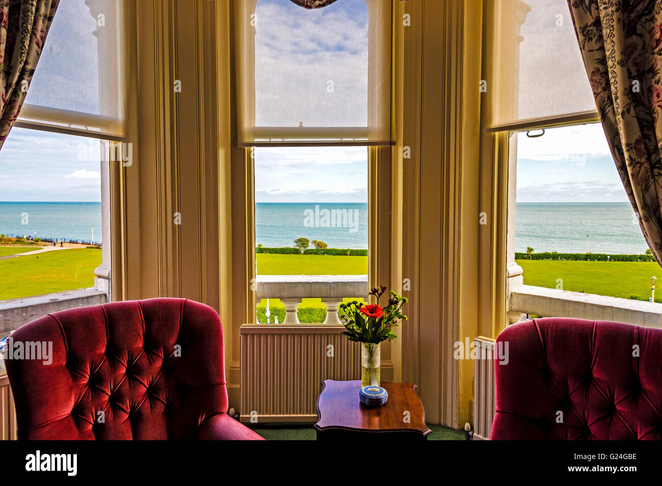 View onto the sea from the Grandhotel Eastbourne, room with a view; Blick aufs Meer vom Grandhotel Eastbourne Stock Photo