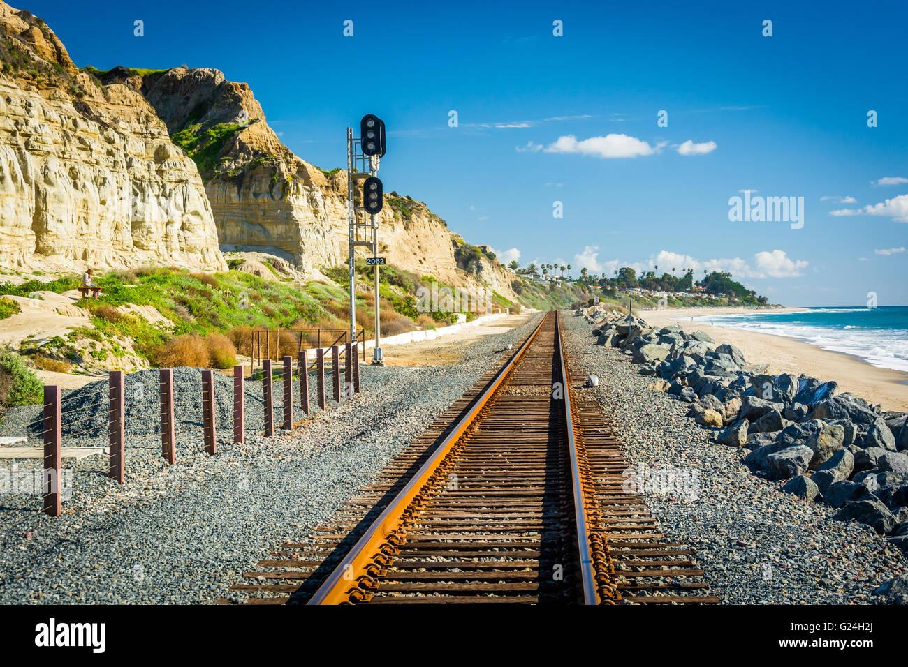 Railroad tracks along the beach in San Clemente, California. Stock Photo