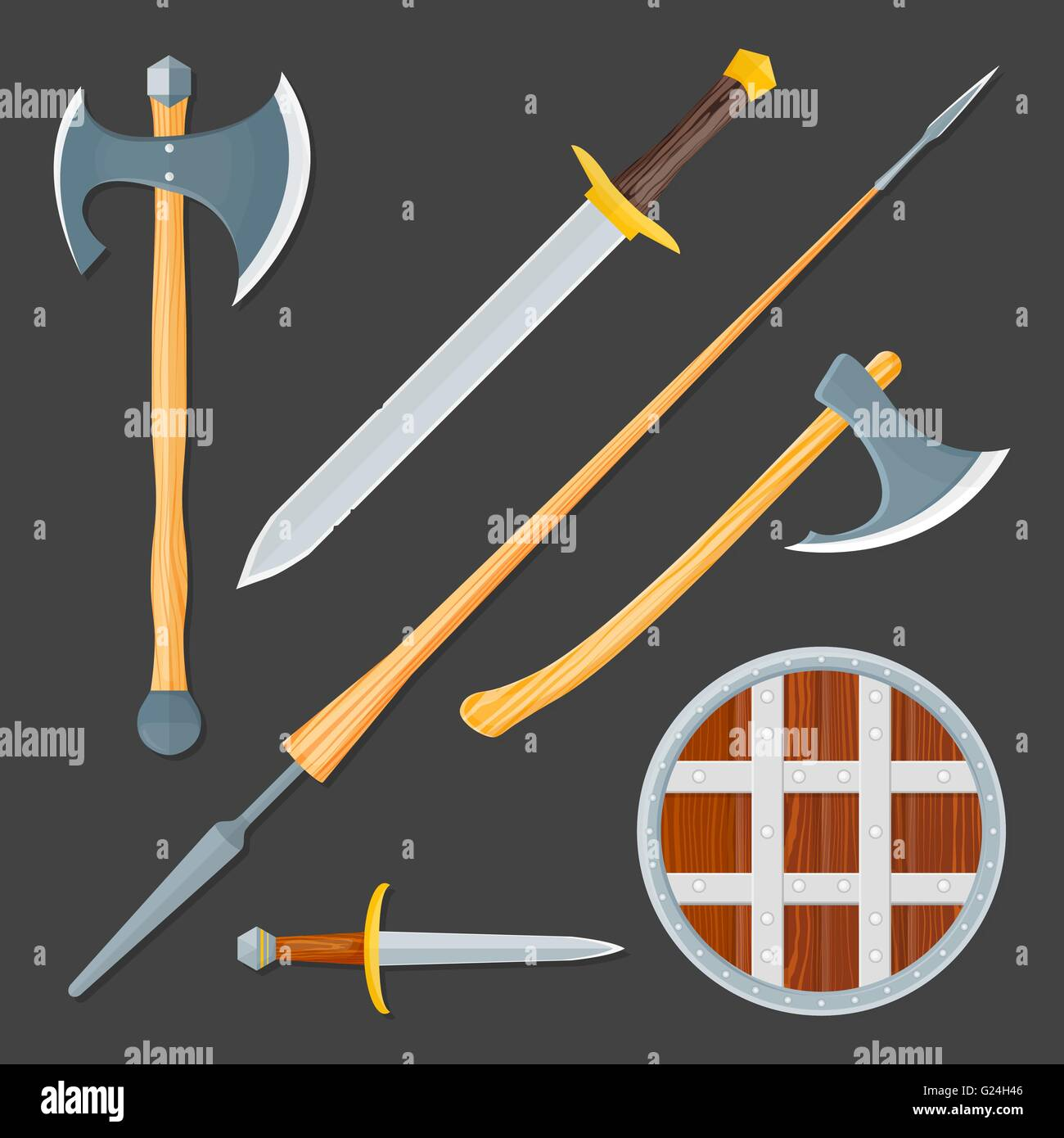 vector colorful wood textured flat design medieval various cold weapon collection shield, dagger, sword, lance, - Stock Vector