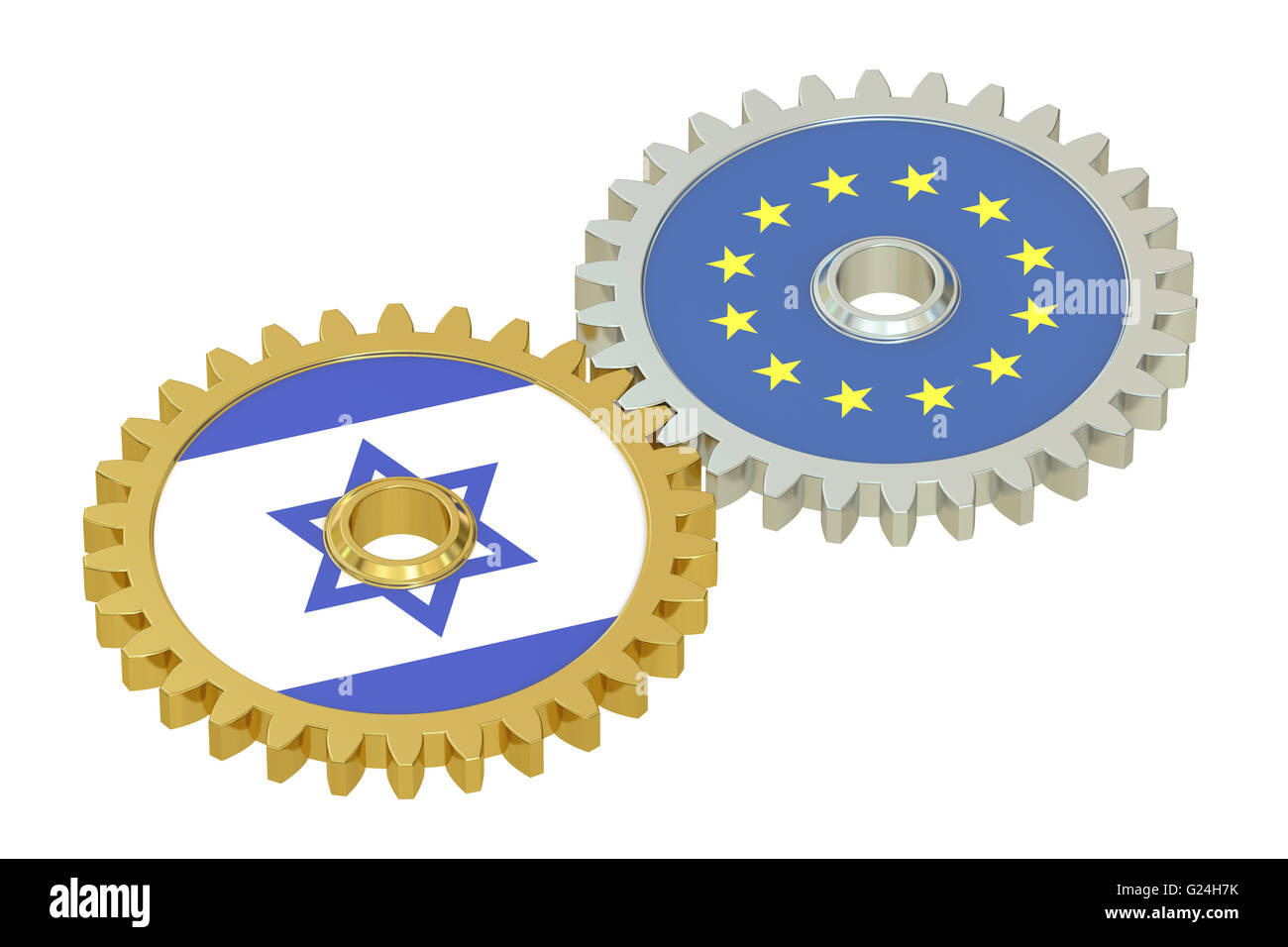 Israel and EU flags on a gears, 3D rendering isolated on white background - Stock Image